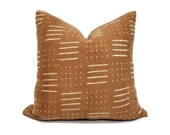 Rust mudcloth pillow cover in various sizes