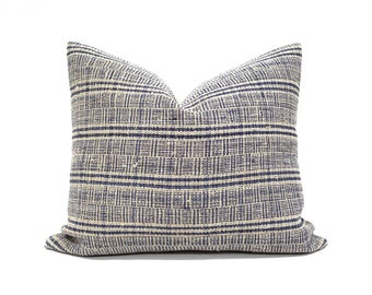 "17""×20"" indigo hemp linen plaid pillow cover"
