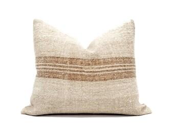 "16.75""×20"" vintage grainsack caramel stripe pillow cover"