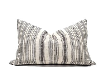 """RESERVED, 16""""×25""""  black stripe Hmong hemp linen XL lumbar pillow cover"""