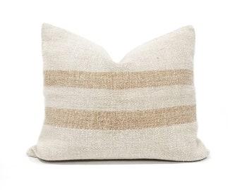 "18x21"" vintage grainsack caramel stripe pillow cover"