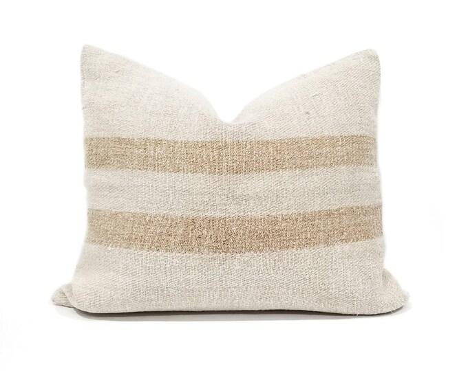 "Featured listing image: 18x21"" vintage grainsack caramel stripe pillow cover"