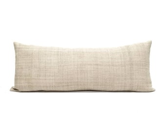 "13""x35"" natural color hemp linen Hmong bed pillow cover"
