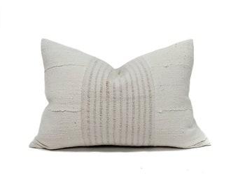 """15""""×21"""" grainsack stripe+cream mudcloth pillow cover"""