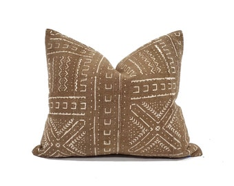 Various sizes brown mudcloth pillow cover