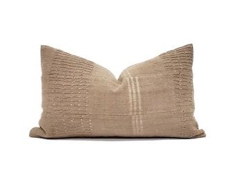 "12""×20"" khaki Aso oke pillow cover"