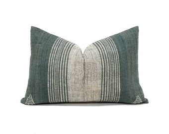 "14""×21"" green Indian wool stripe pillow cover"