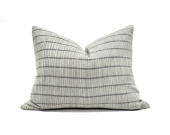 Various sizes muted sage/grey stripe cotton Asian textile pillow cover