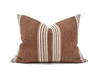 "17""×22"" wine stripe cotton Asian textile pillow cover"
