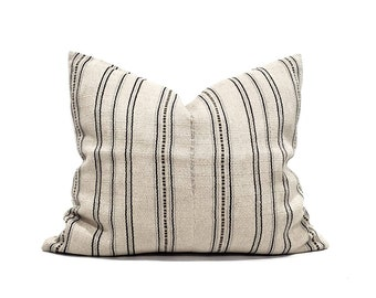 "19""×23"" muted beige/indigo stripe soft hemp linen Asian textile pillow cover"