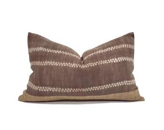 """14""""×22"""" brown hemp linen hmong batik bone print + camel hemp linen pillow cover"""
