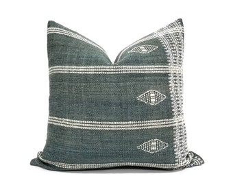 "19"" or 20"" green Indian wool stripe pillow cover"