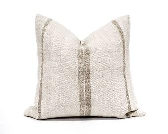 "18.25"" vintage mushroom color stripe hemp grainsack pillow cover"