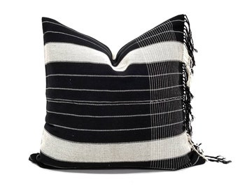 "22.75""x 24"" fringe on side black & cream stripe Asian textile cotton pillow cover"