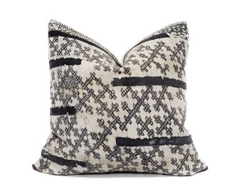 "20"" Hmong dark charcoal grey batik hemp linen pillow cover"