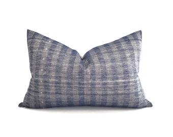 "16""×24.5"" Indonesian cotton indigo embroidered pillow cover"