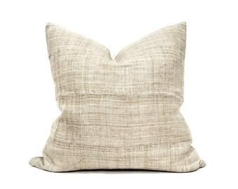"""20"""" natural hemp linen Hmong pillow cover"""