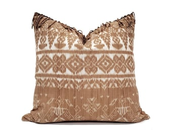 "20"" fringe on top Indonesian  rust ikat pillow cover"