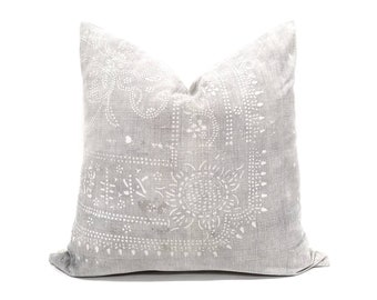 "DISCOUNTED/FLAWED 17.5"" silver grey Chinese batik pillow cover"