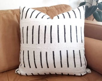 Cream with black lines mudcloth pillow cover in various sizes