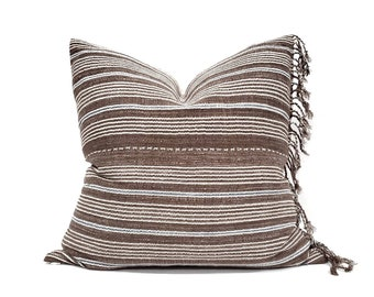 "21"" fringe on side brown stripe Asian textile cotton pillow cover"