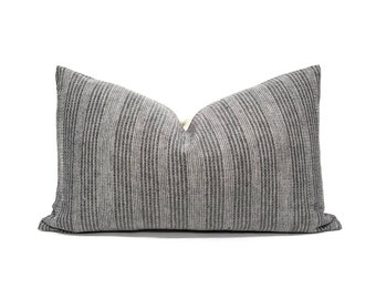 Various sizes charcoal grey with embroidery Asian textile cotton pillow cover