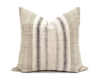 """19"""" flax & black stripe Hmong hemp linen pillow cover"""