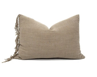 "15""×21"" fringe on side muted camel Asian textile cotton stripe pillow cover"