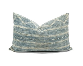 "14""×21.75"" faded indigo mudcloth pillow cover"