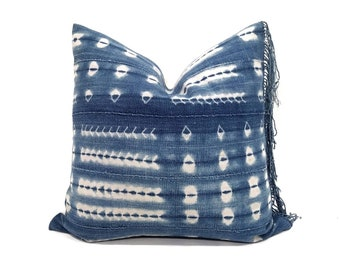 "18.5""×19"" fringe indigo mudcloth pillow cover"