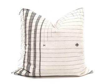 """21"""" fringe on side Indonesian cotton stripe embroidered pillow cover"""