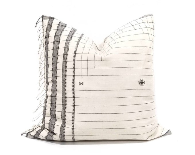 """Featured listing image: 21"""" fringe on side Indonesian cotton stripe embroidered pillow cover"""