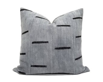 Grey line mudcloth pillow cover in various sizes