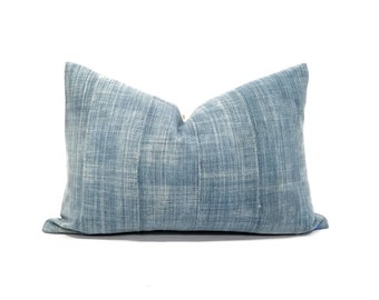 "13""×20"" faded indigo mudcloth pillow cover"