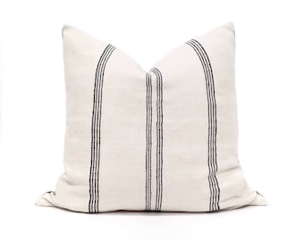 "21"" cream/black stripe cotton Asian textile pillow cover"