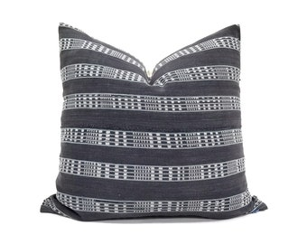 """19"""" grey embroidered African fine weave mudcloth pillow cover"""