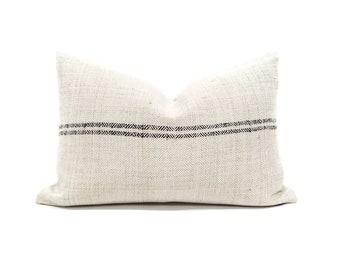 "13""×19.5"" vintage herringbone grainsack black stripe pillow cover"