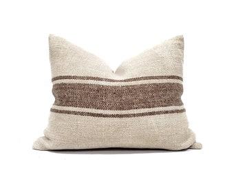 "16""×20"" vintage grainsack brown stripe pillow cover"