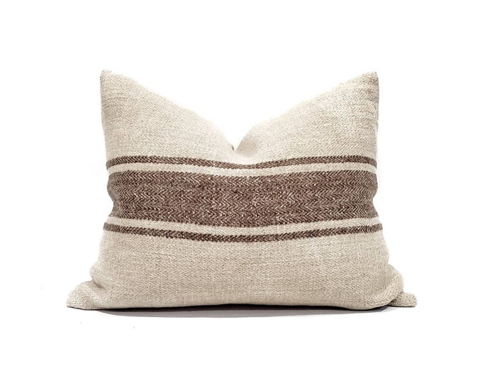 """Featured listing image: 16""""×20"""" vintage grainsack brown stripe pillow cover"""