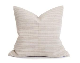 "19""x 19.25"" oatmeal/cream stripe grainsack pillow cover"