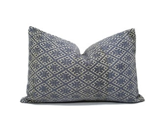 "13""×20"" muted indigo Chinese wedding blanket pillow cover"