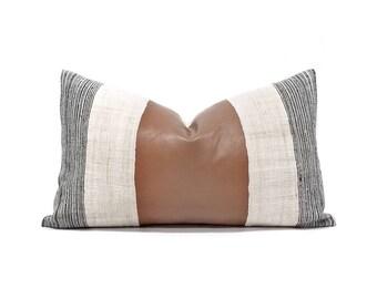 "12""×20"" hmong hemp stripe+ leather(not faux) pillow cover"