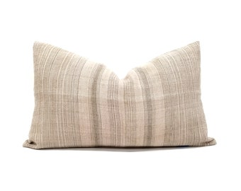 "14""×23"" light dusty blush pink stripe hmong hemp pillow cover"