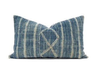 "12""x 20"" Indigo mudcloth pillow cover"