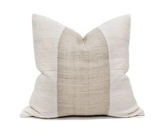 """20"""" natural flax hemp linen+ mudcloth pillow cover"""