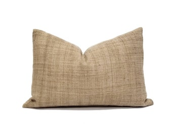 "13.5""x20"" camel hemp linen Hmong pillow cover"