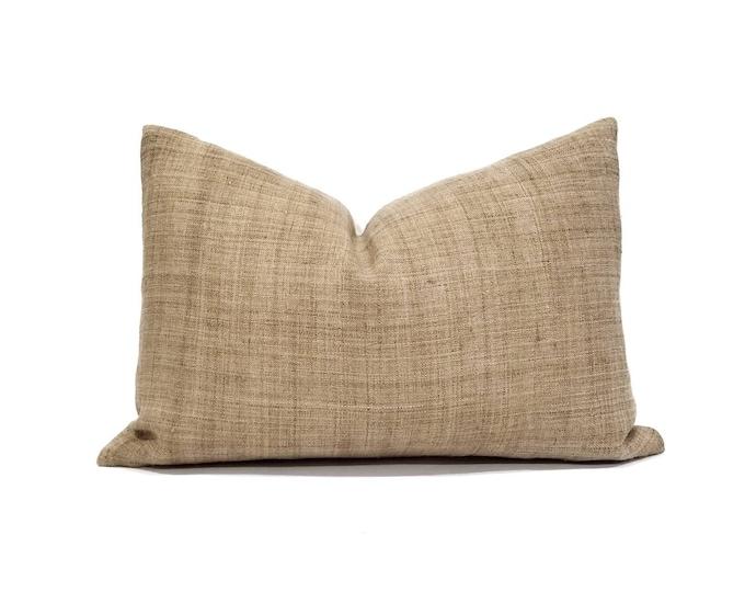 """Featured listing image: 13.5""""x20"""" camel hemp linen Hmong pillow cover"""