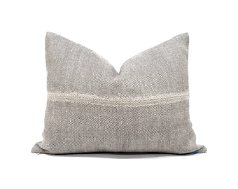 "15""×20"" herringbone pattern linen pillow cover"