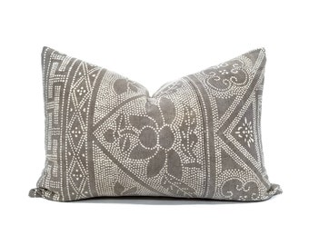 "15.5""x22"" khaki gray vintage Chinese batik pillow cover"