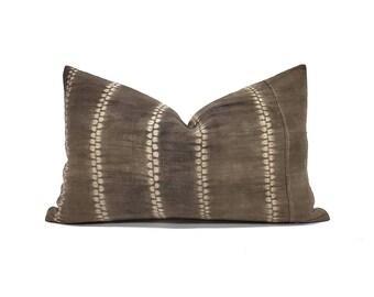 "12""×19.5"" dark brown hemp linen hmong batik bone print pillow cover"
